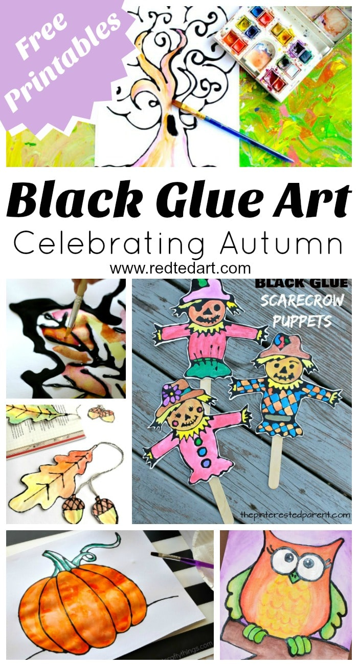 Black Glue Art Projects - If you are looking for Autumn Art  Projects have a look at these fabulous Black Glue & Watercolour techniques. Don't they look wonderful? The process is fun and to make things easier there are some great printables to go with them. From simple Fall art projects to Fall bookmarks and Harvest puppets..