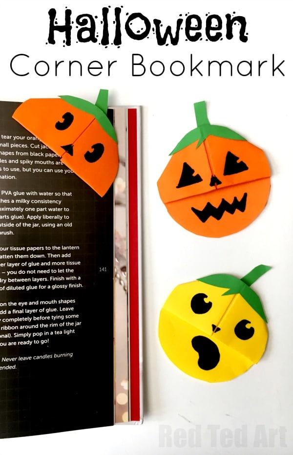 Pumpkin Corner Bookmark Easy Jack Olantern Bookmark Red Ted