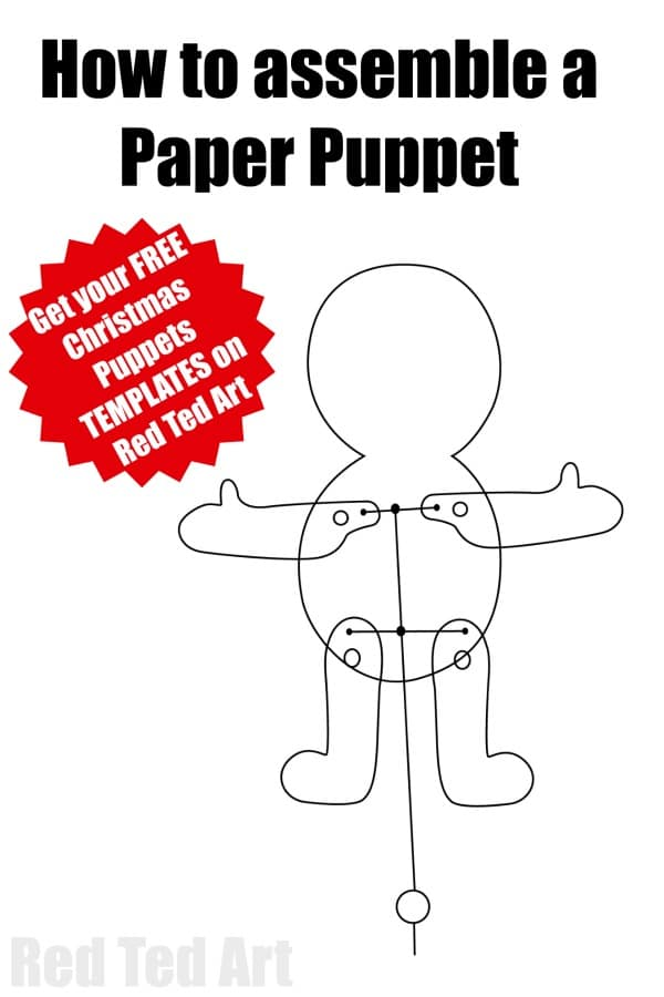 How to assemble a paper puppet. Multicultural Santa Paper Puppets. We have a set of 5 adorable Santa Puppets for you to download, print and assemble. Aren't these Father Christmas Puppets the cutest? #jointedpaperdoll #paperdoll #paperpuppet #santapuppet