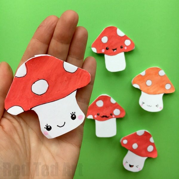 Mushroom Corner Bookmark Design - more fun with easy Paper Bookmark DIYS. This time we have a cute Autumn Bookmark Design - an adorable little Mushroom. It would go OH SO WELL with our Hedgehog Bookmark, don't you think? Love that all you need for this is paper, scissors and pens!