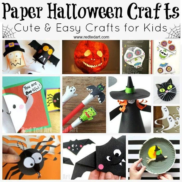 photograph about Halloween Crafts for Kids+free Printable titled Paper Halloween Crafts - Purple Ted Artwork