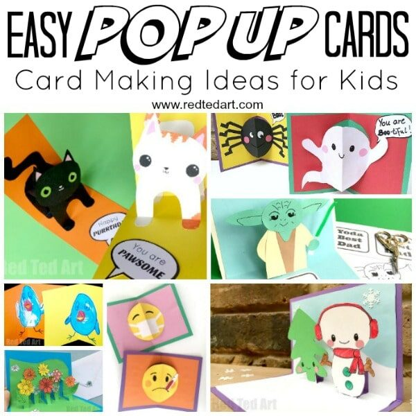 Collage of easy Pop Up Card Projects for kids to make. Lots of easy Card Making Ideas and designs.