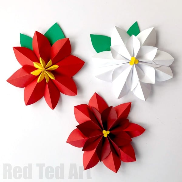 Easy paper flowers poinsettia red ted arts blog fold both pieces of paper across the short edge into exactly 16 sections the easiest way to get this done neatly is to keep folding the paper in half mightylinksfo