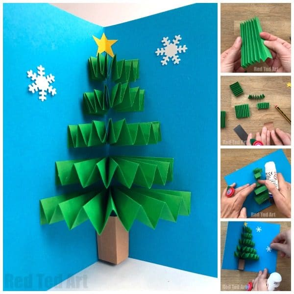 DIY Christmas Tree Pop Up Card made with concertina Paper!