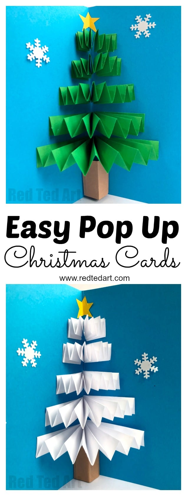 Easy Pop Up Christmas Card - LOVE these 3d Paper Fan Christmas Tree Cards. How cute are they? Working with concertina paper folding techniques, this is a quick and easy card to make for the holidays. Love both the traditional Christmas Tree and white Winter Tree Card versions. #ChristmasCards #Christmascard #popup #popupchristmascard #christmastree #3dcards #cardmaking