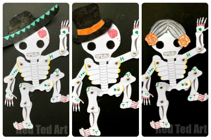 photograph regarding Skeleton Stencil Printable titled Working day of the Lifeless Paper Puppet Template - Purple Ted Artwork