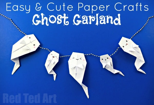 Easy Origami Ghost Garland Red Ted Art