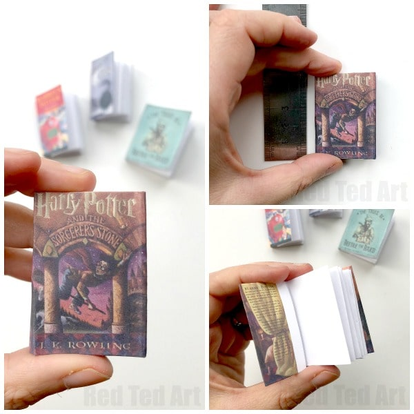 graphic about Miniature Books Printable referred to as Do-it-yourself Harry Potter Mini Guides (No Glue) - Crimson Ted Artwork