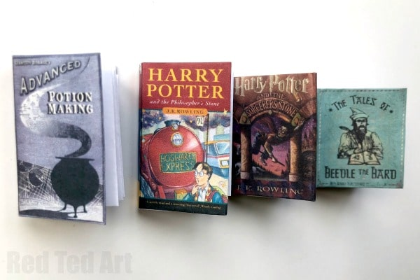 graphic regarding Miniature Books Printable known as Do-it-yourself Harry Potter Mini Publications (No Glue) - Crimson Ted Artwork