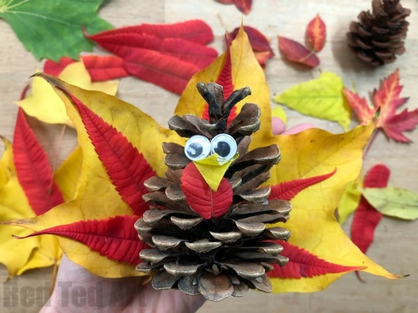 Autumn Leaf Pine Cone Turkey - Wow! These Pine Cone Turkeys really show the vibrant colours of beautiful Autumn Leaves. A great (quick) Thanksgiving Craft for Kids. Adorable!!