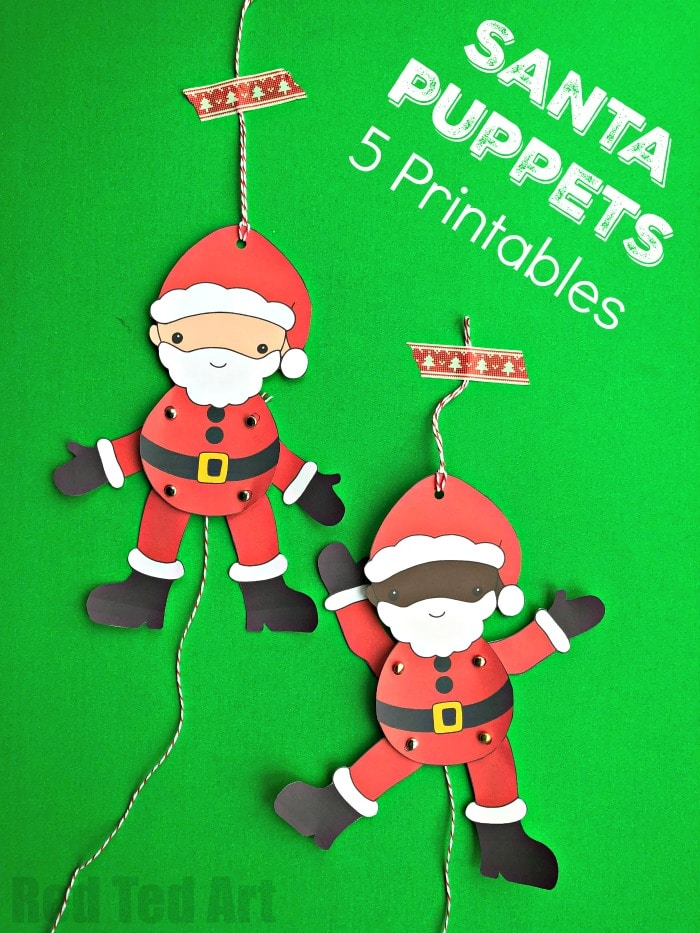 Multicultural Santa Paper Puppets. We have a set of 5 adorable Santa Puppets for you to download, print and assemble. Aren't these Father Christmas Puppets the cutest? #JointedPaperDoll #PaperPuppet #Printable #PaperPuppetPrintable #Multicultural #paperdoll #jointed #santapuppet #santacraft