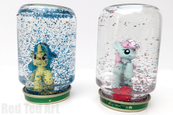 "My Little Pony DIY Snowglobes - Love this adorable My Little Pony Craft. A great party craft activity or party bag gift idea. Great for using up ""doubles"" from your My Little Pony toy collections!"