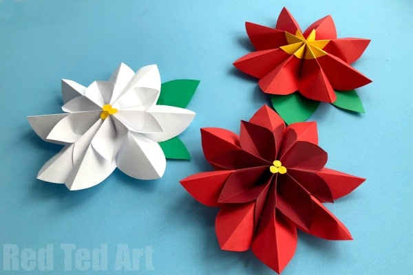 Easy paper flowers poinsettia red ted arts blog to make a paper flower decoration you will need mightylinksfo