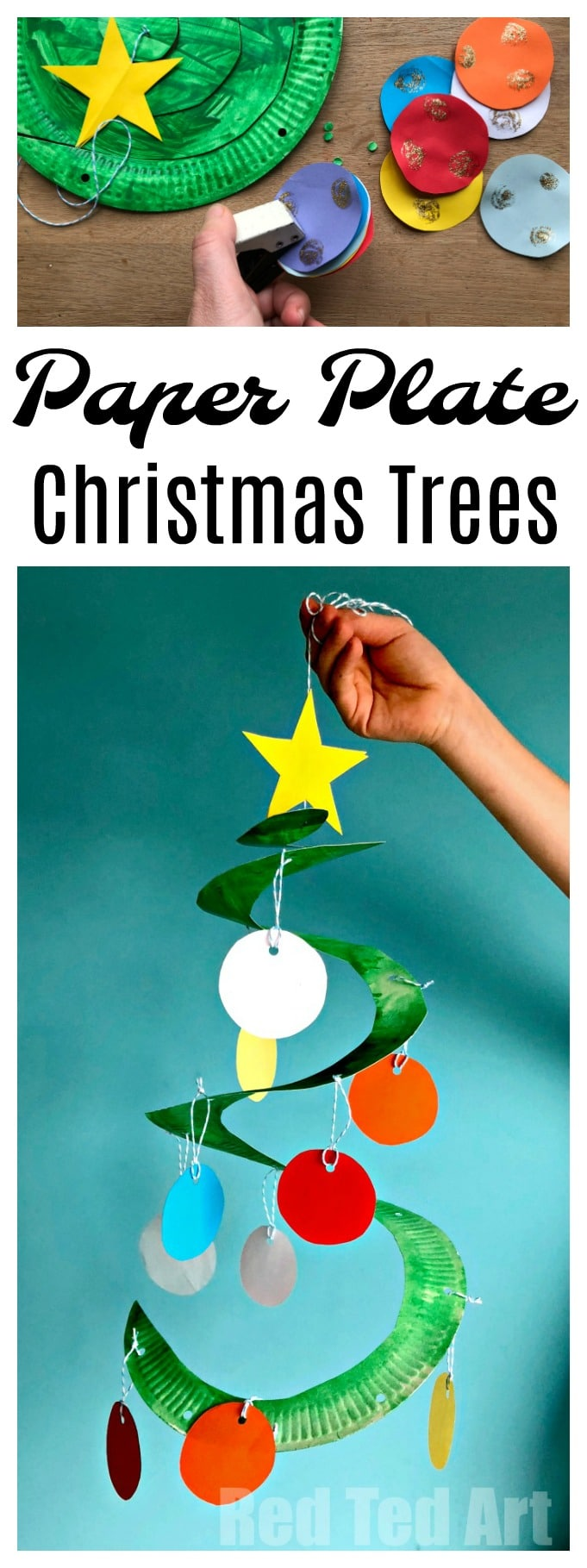 Paper Plate Christmas Tree Whirligig - Paper Plate Twirlers are a easy and fun to make, great classroom Christmas Decoration. Paper Plate Christmas trees can also be made as collaborative project.. and we give tips to simplify the craft or extend it. They are SUCH a pretty decoration for Christmas though.. Fabulous Christmas Crafts for Preschoolers! #ChristmasTree #PaperPlate #PaperplateChristmasTree #Preschool