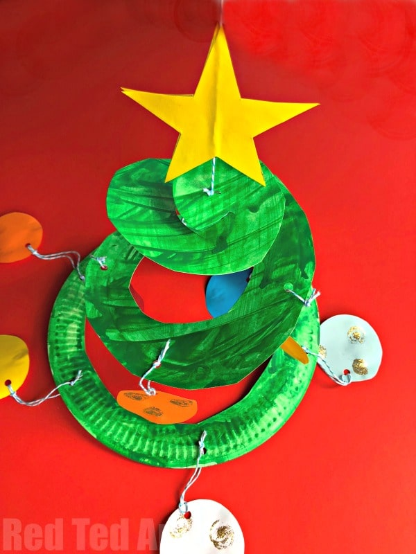 Paper Plate Christmas Tree Whirligig Red Ted Art