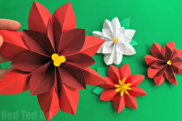 Easy paper flowers poinsettia red ted arts blog isnt this paper flower diy gorgeous i do love poinsettia decorations this time of year just so festive and beautiful hope you enjoy this 3d paper mightylinksfo