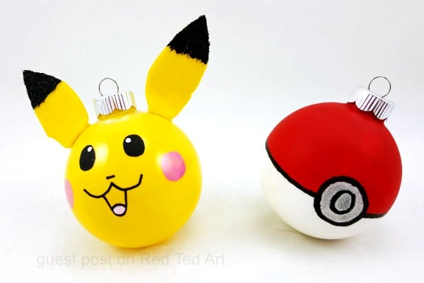 Easy Pokemon Ornament DIYs - if you love Pokemon and the iconic Pikachu and Pokeball, take a peak at these fabulous Pikachu and Pokeball Ornaments for Christmas? A great Ornament DIY for Pokemon Lovers. Would make a lovely gift idea too!