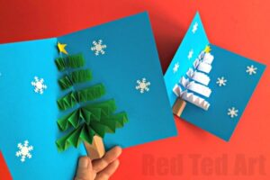 Easy pop up card how to projects red ted arts blog a different technique i call this an accordian paper card or a paper fan greeting card and we have these gorgeous 3d christmas tree cards m4hsunfo