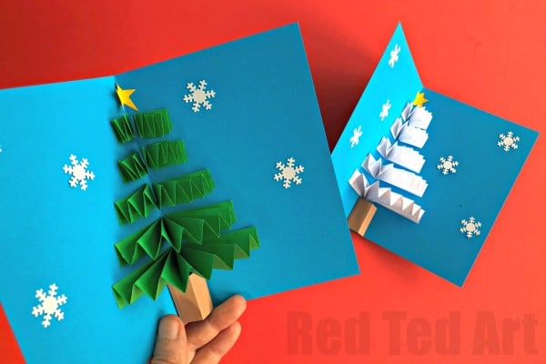 Diy christmas pop up card red ted arts blog easy pop up christmas card love these 3d paper fan christmas tree cards how solutioingenieria