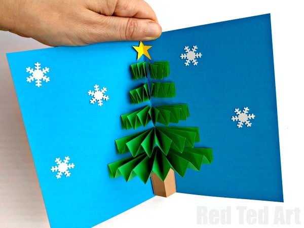 Diy christmas pop up card red ted arts blog easy pop up christmas card love these 3d paper fan christmas tree cards how solutioingenieria Choice Image
