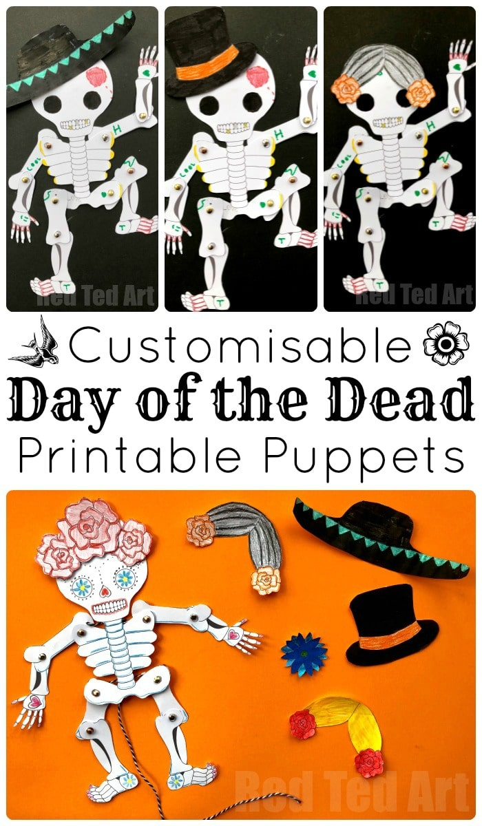 Day of the Dead Paper Puppet Template - Red Ted Art\'s Blog