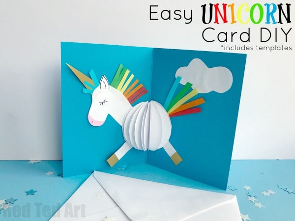 3D Unicorn Card DIY - oh man. Calling all Unicorn fans.. HOW CUTE are these pop up unicorn cards? And you know what... they are SO EASY to make. Yes, I promise they are. Especially as we have templates and printables for you too... find out more today and suprise someone with a magic unicorn 3d Card DIY #Unicorns #unicorncrafts #unicorndiys #unicorncard #popupunicorn #popup #popupcards #unicorn