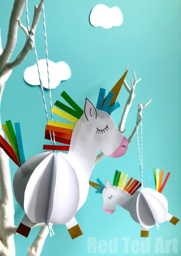 Easy 3d Paper Unicorn Decoration Red Ted Art