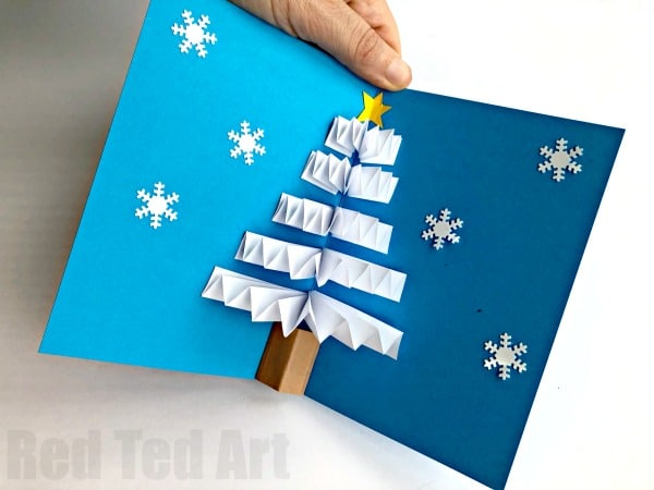 Easy Diy Christmas Cards.Diy Christmas Pop Up Card Red Ted Art