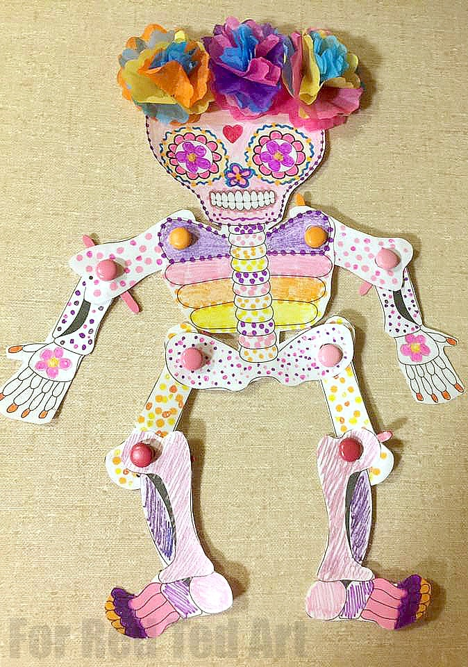 Day Of The Dead Paper Puppet Template Red Ted Arts Blog
