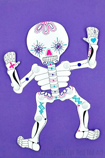 Sugar skull paper crafts red ted art 39 s blog for Day of the dead crafts for preschoolers