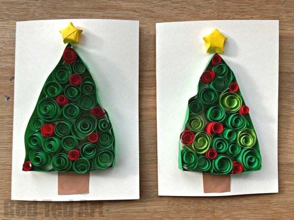 Quilled Christmas Tree Cards. Love these fun 3D Christmas Cards for kids to make. Each one is unique and different and they make a great introduction to quilling for beginners. Love Christmas Cards for Kids!! #ChristmasCards #3dCards #quilling #quilledcards #ChristmasTree #papercrafts #kids #Kidscrafts