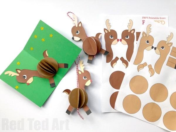paper reindeer ornament red ted art 39 s blog. Black Bedroom Furniture Sets. Home Design Ideas