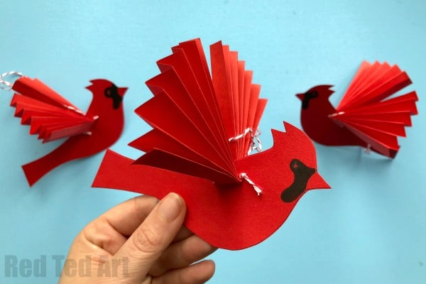easy paper fan cardinal ornament for christmas how to make a paper fan bird