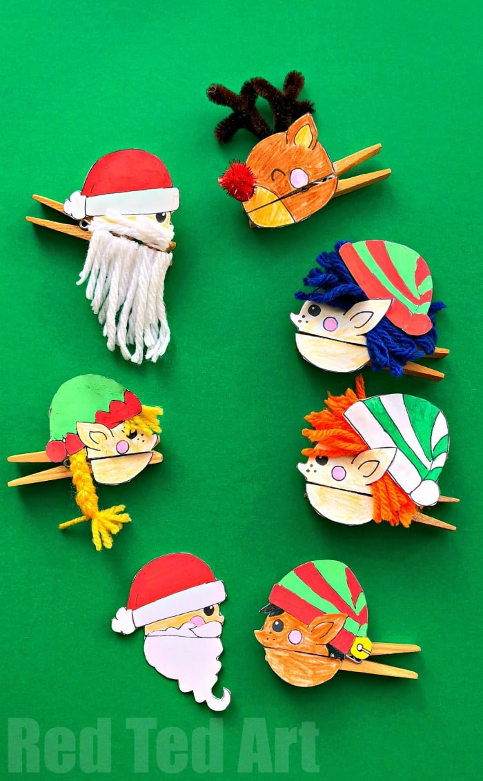 Christmas Clothespin Puppets Red Ted Art Make Crafting With Kids Easy Fun