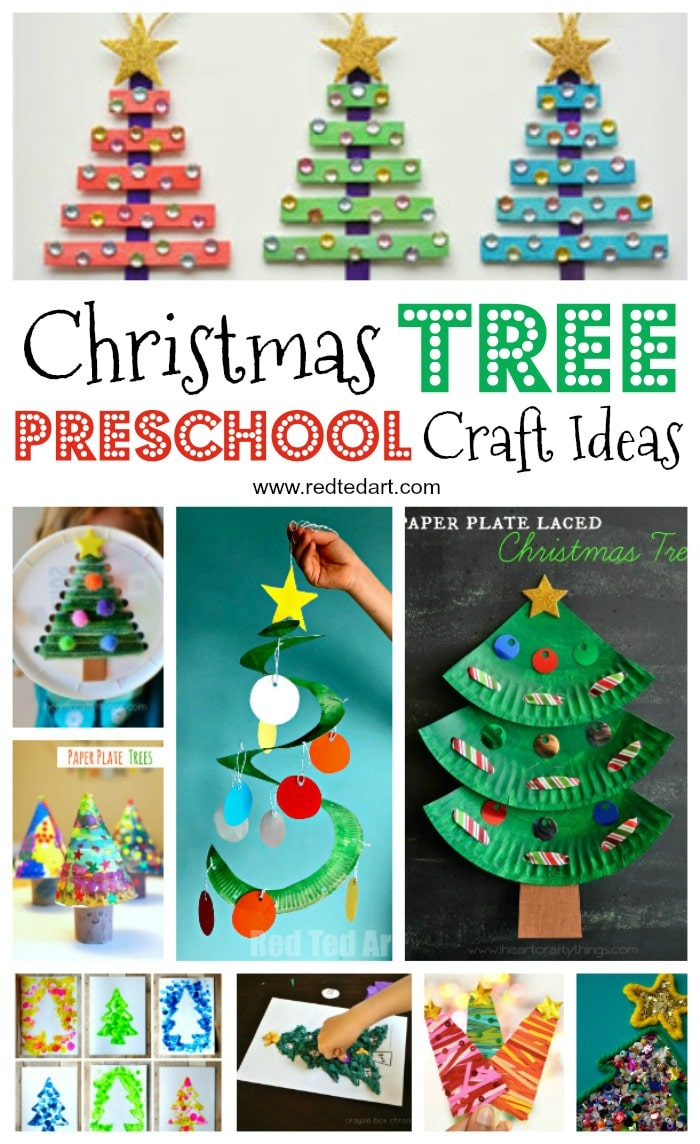 Easy christmas tree crafts for kids red ted art 39 s blog for Christmas crafts for pre schoolers