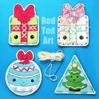 Printable Christmas Lacing Cards