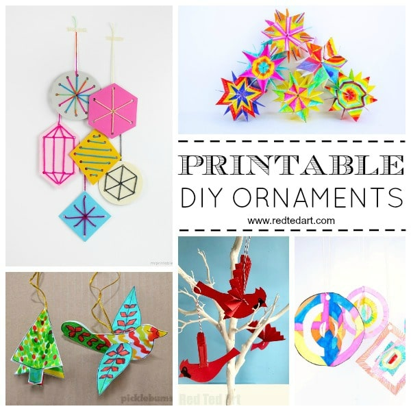 Printable Christmas Ornaments.Paper Christmas Ornament Diy Ideas Red Ted Art