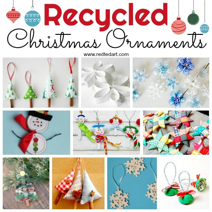 Recycled Ornaments Diy Red Ted Art Make Crafting With Kids Easy Fun