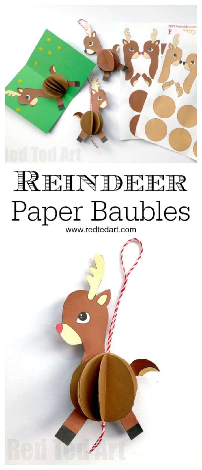 graphic regarding Pin the Nose on the Reindeer Printable titled Paper Reindeer Ornament - Pink Ted Artwork