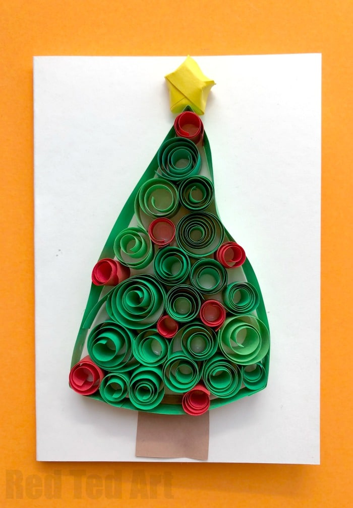 Quilled Christmas Tree Cards - Red Ted Art\'s Blog