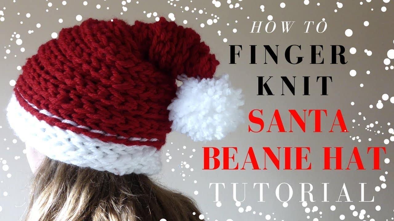 Finger Knitting Santa Hat Project - Red Ted Art\'s Blog