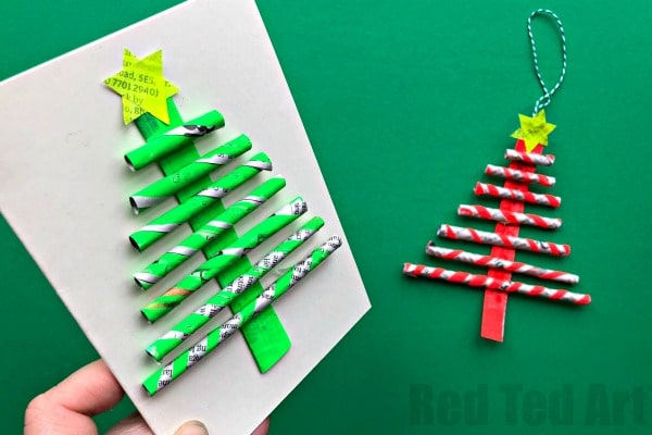 Paper Christmas Tree.Newspaper Christmas Tree Ornaments Diy Red Ted Art