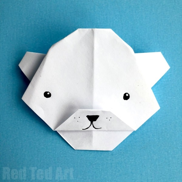 Simple Polar Bear Origami - Red Ted Art on
