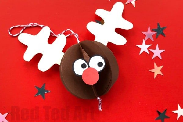 Paper Rudolph Ornament - Love Rudolph? Check out this cute Paper Rudolph Bauble? How cute and fun is he? A great Paper Ornament for kids to make this Christmas. LOVE Christmas Crafts. Quick and easy to make. #Rudolph #rudolphornament #ornament #christmas #paper #papercrafts #papercraftsforkids