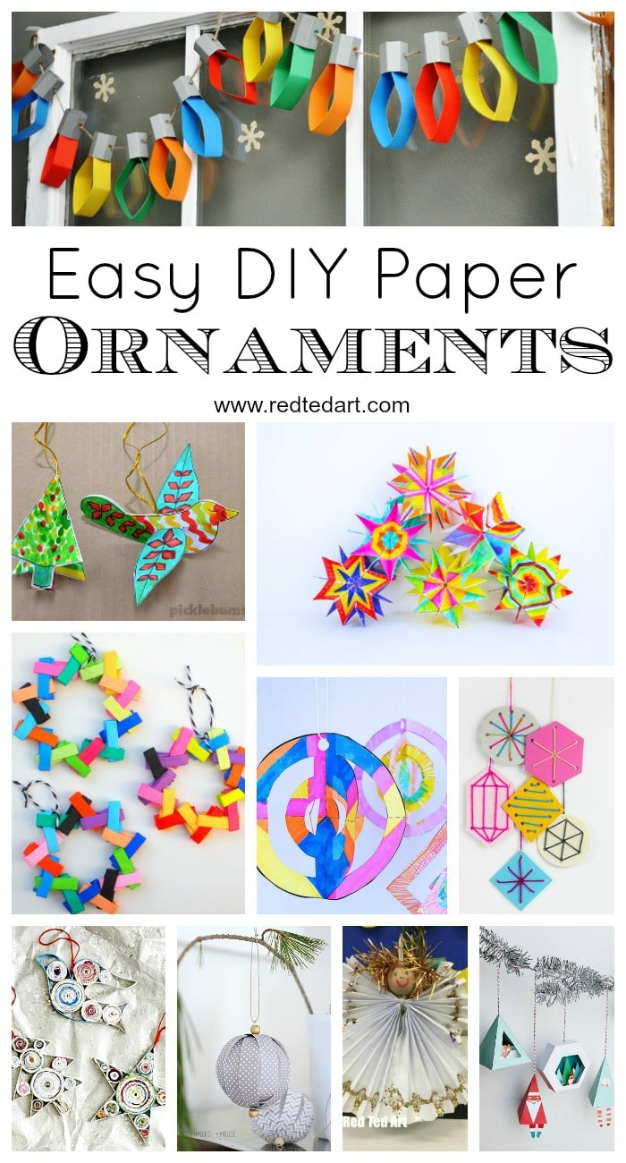 Paper Christmas Ornament DIY Ideas - How to make Christmas Ornaments from Paper - bright and colourful and oh so fun! #Christmas #paper #ornaments #kids