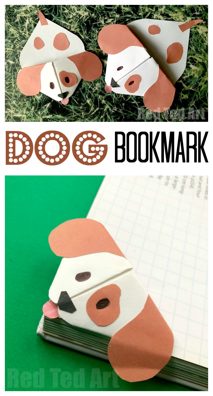 Emoji Dog Corner Bookmark - Cute little and easy Dog Origami Bookmark craft based on the Emoji Dog design Pops over the edges of your book. Oh so cute! Love Paper Dog Crafts for Kids. #Dogs #dogdiys #dogcrafts #dogcraftsforkids #chinesenewyear #yearofthedog