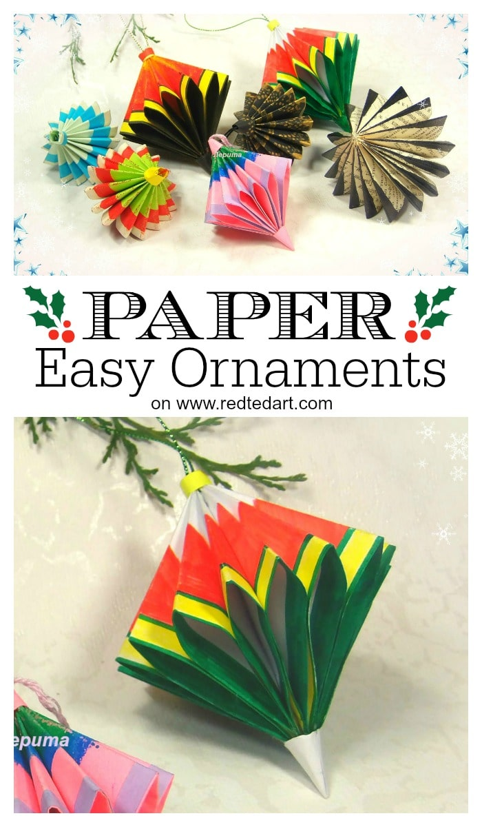 Beautiful Paper Ornaments made from SQUARE sheets of Paper. You will be surprised at how easy this paper ornament DIY is to make!! #Paper #PaperOrnament #Ornament #PaperCrafts #Christmas #Christmasornaments