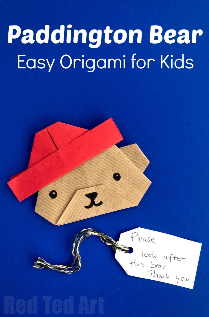Easy Paper Paddington Bear Craft - Oh my, how cute is this Origami Bear? Not just any bear.. but Origami Paddington Bear? Love love love. If you love Paddington and the Paddington Bear Movies, have a go at this lovely little paper crafts for kids.. wouldn't they make great Paddington Party Invites?!