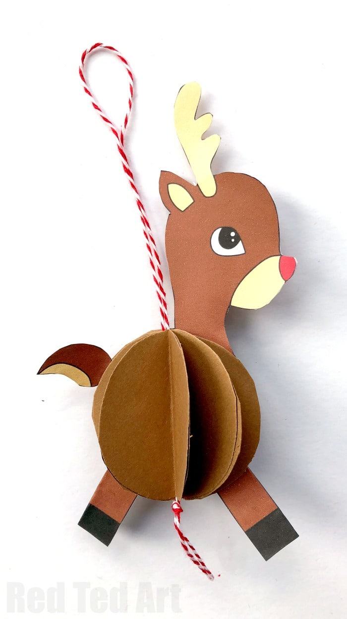 Paper Reindeer Ornament x Red