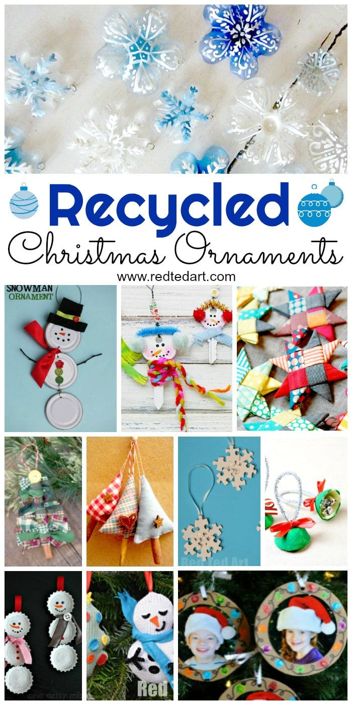 Recycled Ornament DIY Ideas - use old fabrics, bottles, lids, kids toys to make these fabulous DIY Christmas Ornaments #Christmas #Ornaments #Recycled